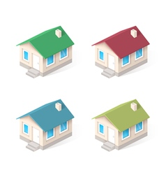 House isometric icons set vector