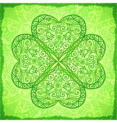 Light green ornate four-leaf clover background vector image vector image