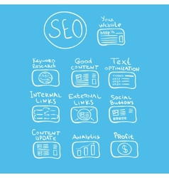Search engine - seo doodle concept vector image vector image
