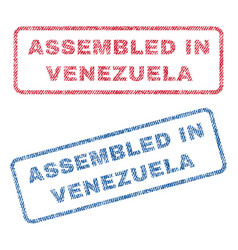 assembled in venezuela textile stamps vector image vector image