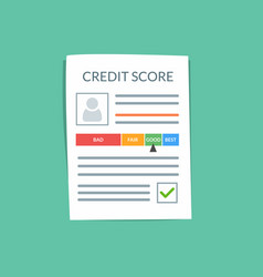 credit score document concept personal vector image vector image