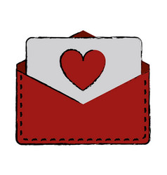 drawing love heart envelope mail valentine lette vector image
