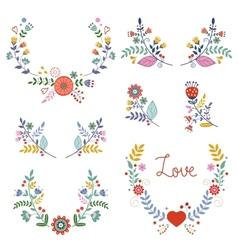 Floral wreathes collection vector