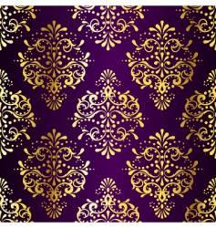intricate gold-on-purple seamless sari vector image