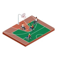 Isometric Active healthy disabled men basketball vector image vector image