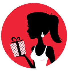 Silhouette of beautiful woman holding present vector image vector image