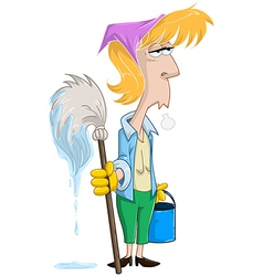 Tired Woman With Mop And Bucket vector image vector image