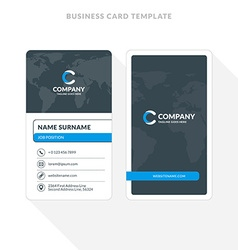 Vertical double sided business card template blue vector image vertical double sided business card template blue vector image vector image flashek Images