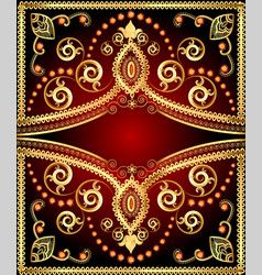 background frame with floral gold ornament and vector image vector image