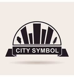 City logo buildings Silhouette icon vector image