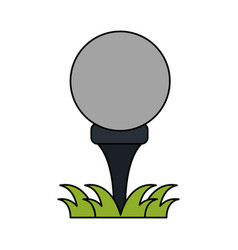 color image cartoon golf ball on tee in grass vector image