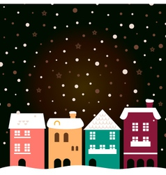 Colorful christmas city houses with snowing behind vector image vector image