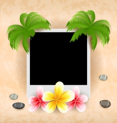Empty photo frame with palm flowers frangipani sea vector image vector image