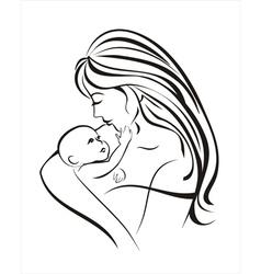 mama and baby vector image