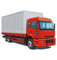 Red commercial truck vector image vector image
