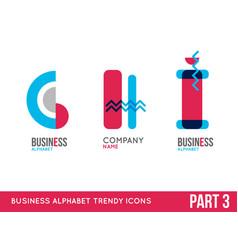 trendy alphabet icon set vector image vector image