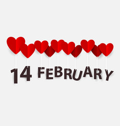 14 february hanging with red heart balloons happy vector image