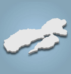 3d isometric map ambon is an island vector