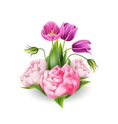 3d realistic peony tulip elegant bouquet vector image