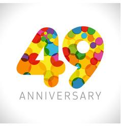 49 years anniversary circle colorful logo vector
