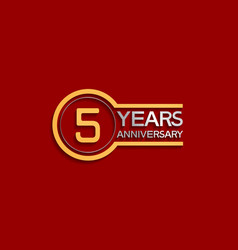 5 years anniversary golden and silver color vector