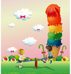 A girl and a boy playing at the park with a giant vector image