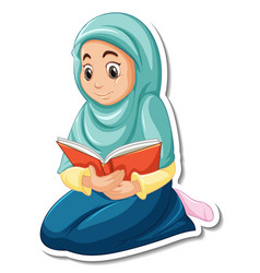 A sticker template with muslim girl praying vector
