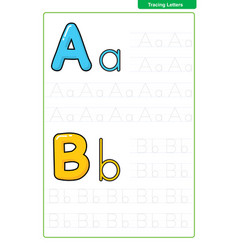 Abc alphabet letters tracing worksheet vector