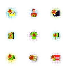 Advertise icons set pop-art style vector