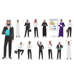 arab businessman man character poses muslim male vector image vector image