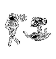 Astronaut spaceman with balloons moon sun earth vector