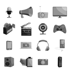 Audio and video set black monochrome style vector