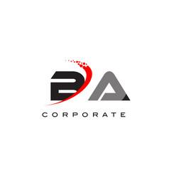 Ba modern letter logo design with swoosh vector