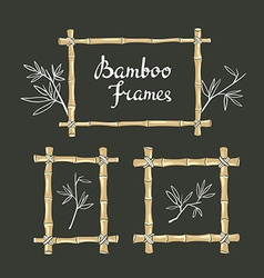 Bamboo frames with leaves on the chalkboard vector