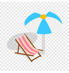 beach chaise lounge with umbrella isometric icon vector image