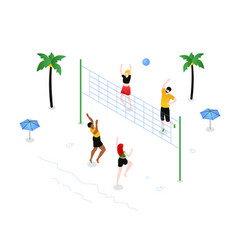 beach volleyball - modern colorful isometric vector image