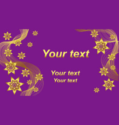Beatiful purple background with gold waves and vector