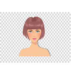 beautiful brown-haired girl with blue eyes and vector image