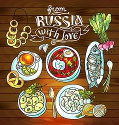 Beautiful hand drawn food russian cuisine top view vector