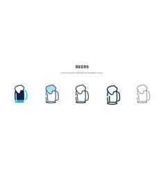 Beers icon in different style two colored and vector