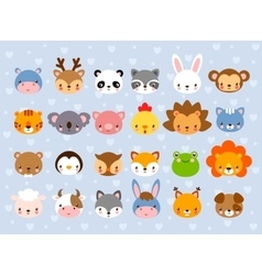 Big set with animal faces vector image