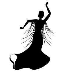 Black silhouette of female flamenco dancer vector