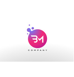 bm letter dots logo design with creative trendy vector image