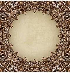 Brown frame ornament old background vector