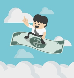 Businessman sitting on the flying dollar magic vector