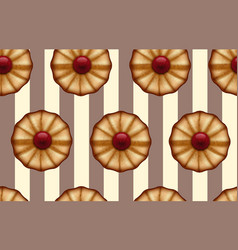 Buttery cookies with red jam on striped brown and vector