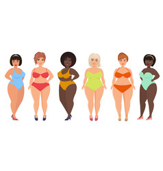 Cartoon beautiful plus size curved women in vector