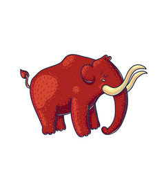 Cartoon extinct mammoth on white background vector
