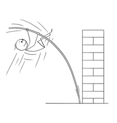 Cartoon of man or businessman doing pole vaulting vector