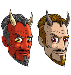 cartoon sly red devil man with horns and beard vector image